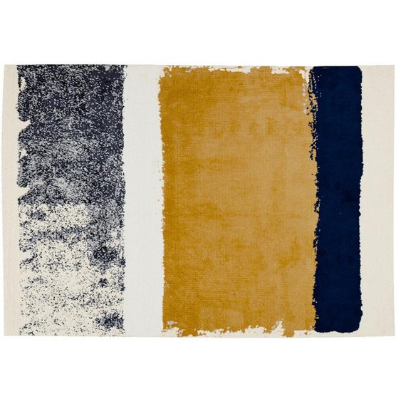 Tapis CAMDEN - 160 x 230 cm - moutarde, bleu marine, gris