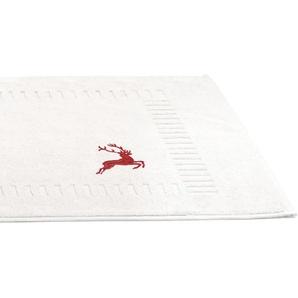 Tapis de bain 50x70 cm HIRSH Blanc Rouge 700 g/m2