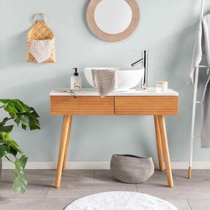 Tapis de Bain Bamboo Blanc ø 70 cm rond - Tapis pour salle de bain