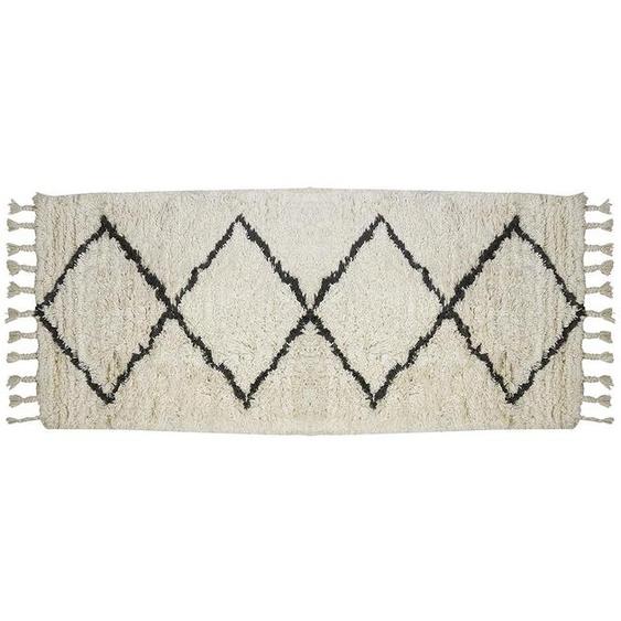 Tapis de couloir style berbère MARCUS - 100% laine - 80 x 200 cm - Beige et noir