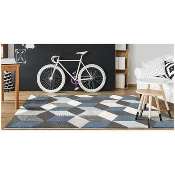 Tapis géométrique CARRIO - 160 x 230 cm - gris, blanc et bleu