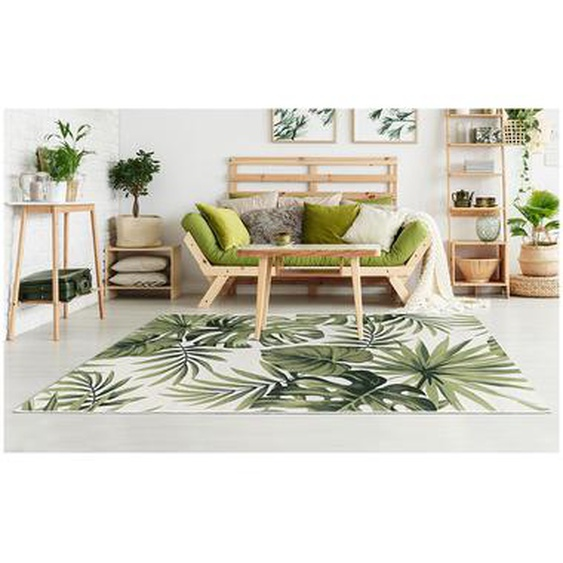 Tapis intérieur ou extérieur ethnique motifs feuilles PALMO - 200 x 290 cm - Vert