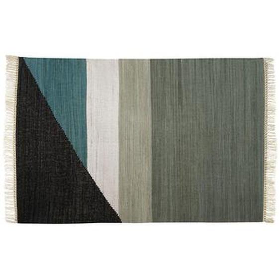 Tapis kilim tissé main en coton MYCENE - 160x230cm - Gris, noir, blanc et vert