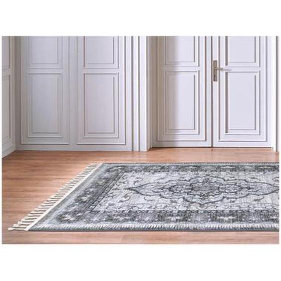 Tapis oriental à franges KANPUR - 160 x 230 cm - Beige et gris