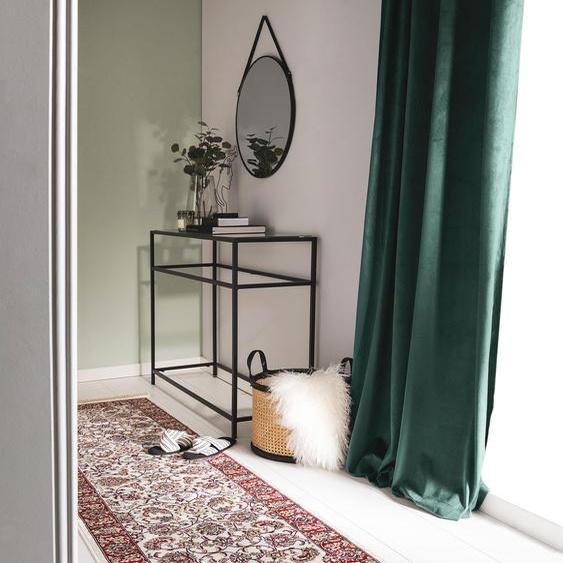 Tapis poil ras de couloir lori Beige/Rouge 67x210 cm - Tapis poil court design moderne pour salon
