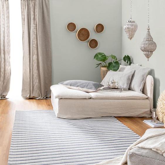 Tapis poil ras en coton lavable Cooper Bleu 130x190 cm - Tapis poil court design moderne pour salon