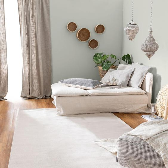 Tapis poil ras en coton lavable Cooper Crème 130x190 cm - Tapis poil court design moderne pour salon