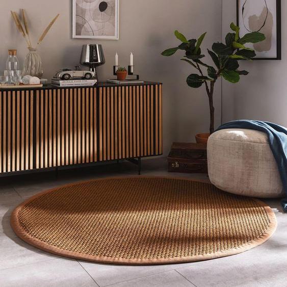 Tapis poil ras sisal Greta Marron clair ø 200 cm rond - Tapis poil court design moderne pour salon