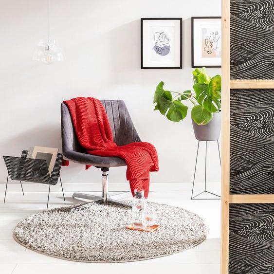 Tapis shaggy à poils longs Soho Gris clair ø 200 cm rond - Tapis doux pour salon