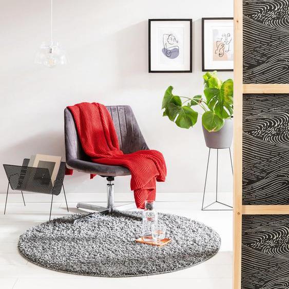 Tapis shaggy à poils longs Soho Gris ø 200 cm rond - Tapis doux pour salon