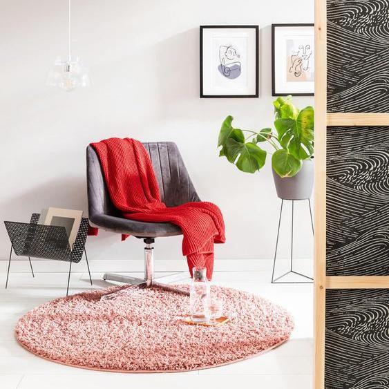 Tapis shaggy à poils longs Soho Rose ø 80 cm rond - Tapis doux pour salon