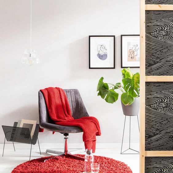 Tapis shaggy à poils longs Soho Rouge foncé ø 120 cm rond - Tapis doux pour salon