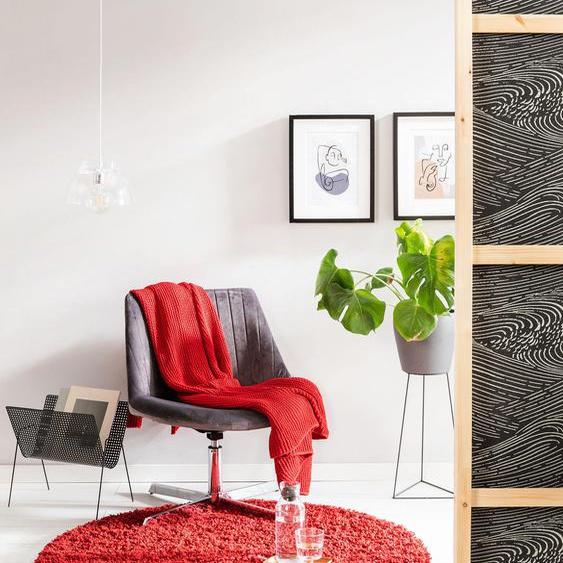 Tapis shaggy à poils longs Soho Rouge foncé ø 200 cm rond - Tapis doux pour salon