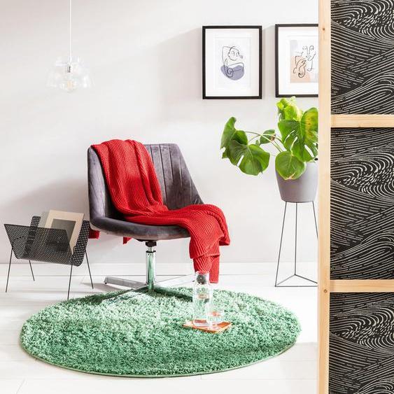 Tapis shaggy à poils longs Soho Vert ø 120 cm rond - Tapis doux pour salon
