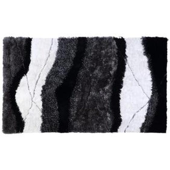 Tapis shaggy ECUME - polyester tufté main - Noir et Blanc - 140*200cm