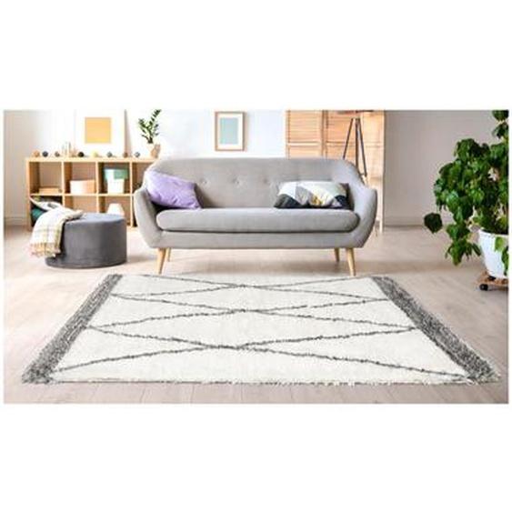 Tapis shaggy style berbère HANIA - 160 x 230 cm - beige et gris