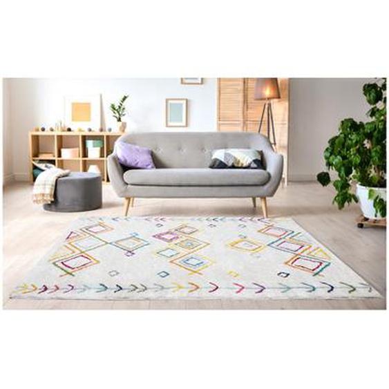 Tapis style berbère ANGKOR - 200 x 290 cm - Beige et motifs multicolores