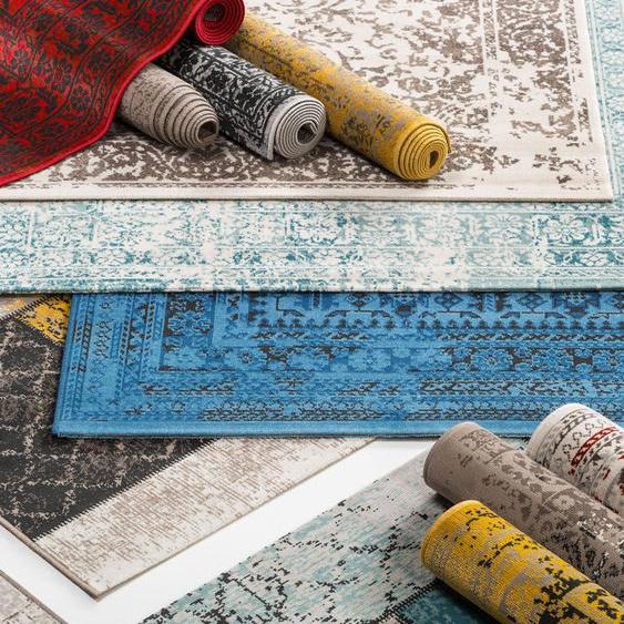 Tapis dextérieur Antique Jaune 120x170 cm - Tapis outdoor pour balcon, terrasse et jardin