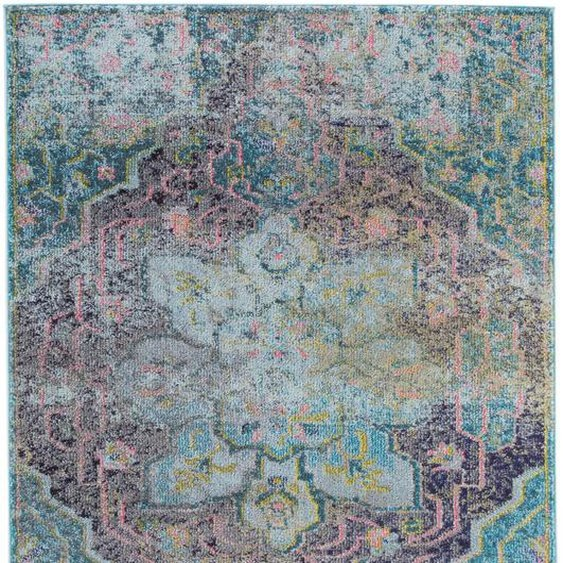 Tapis Vintage Casa Turquoise 240x340 Cm - Tapis Poil Ras / Effet Usé