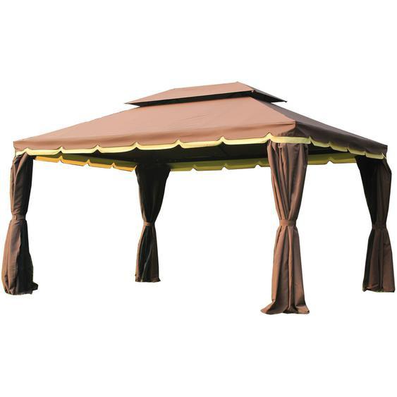 Tonnelle barnum pavillon de jardin style colonial double toit toile moustiquaires et toiles amovibles 3,9L x 2,9l x 2,8H m chocolat - Marron - Outsunny