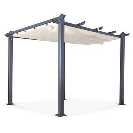 Tonnelle/Pergola aluminium 3x3m toile coulissante rétractable - Gris Ecru - Hero