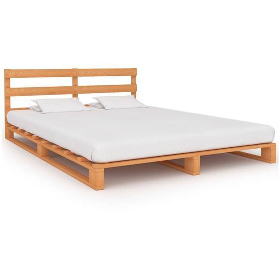Topdeal VDLP25502_FR Cadre de lit de palette Marron Bois de pin massif 140 x 200 cm