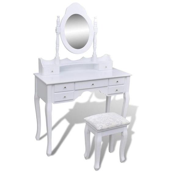 VDTD08484_FR Coiffeuse avec miroir et tabouret 7 tiroirs Blanc - Topdeal