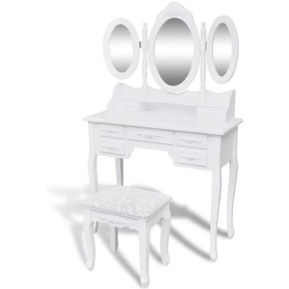 VDTD08756_FR Coiffeuse avec tabouret et 3 miroirs Blanc - Topdeal