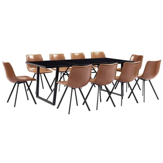 VDTD37905_FR Ensemble de salle à manger 11 pcs Cognac Similicuir - Topdeal