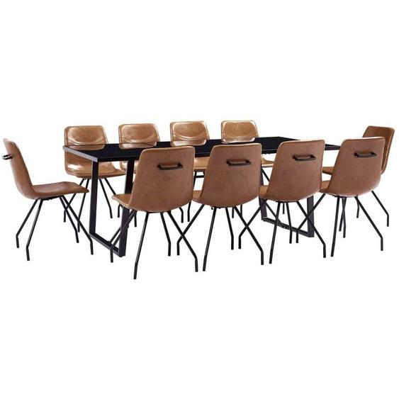 VDTD37917_FR Ensemble de salle à manger 11 pcs Cognac Similicuir - Topdeal