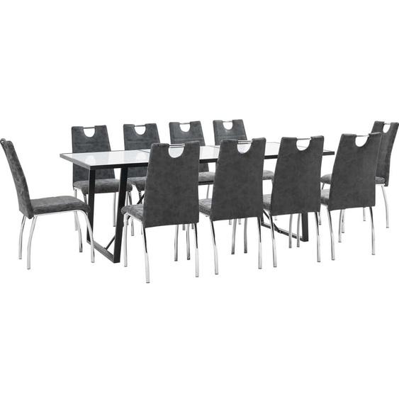 Topdeal VDTD37703_FR Ensemble de salle à manger 11 pcs Noir Similicuir