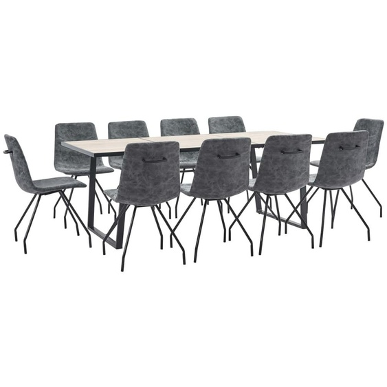 VDTD38128_FR Ensemble de salle à manger 11 pcs Noir Similicuir - Topdeal