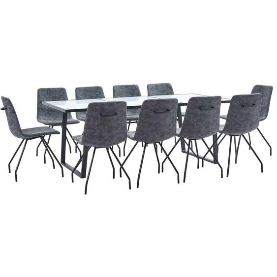 VDTD37734_FR Ensemble de salle à manger 11 pcs Noir Similicuir - Topdeal