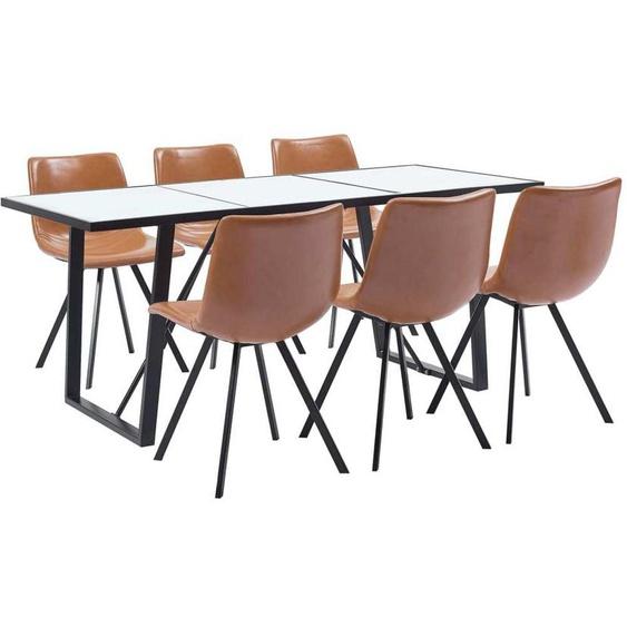Topdeal VDTD37687_FR Ensemble de salle à manger 7 pcs Cognac Similicuir