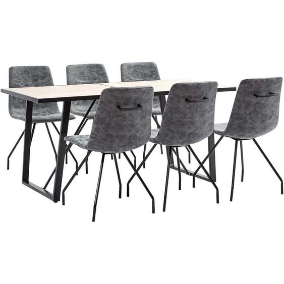 Topdeal VDTD38041_FR Ensemble de salle à manger 7 pcs Noir Similicuir