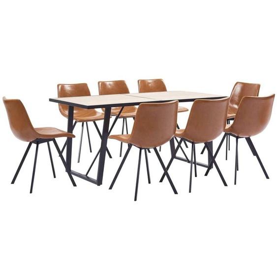 VDTD38038_FR Ensemble de salle à manger 9 pcs Cognac Similicuir - Topdeal