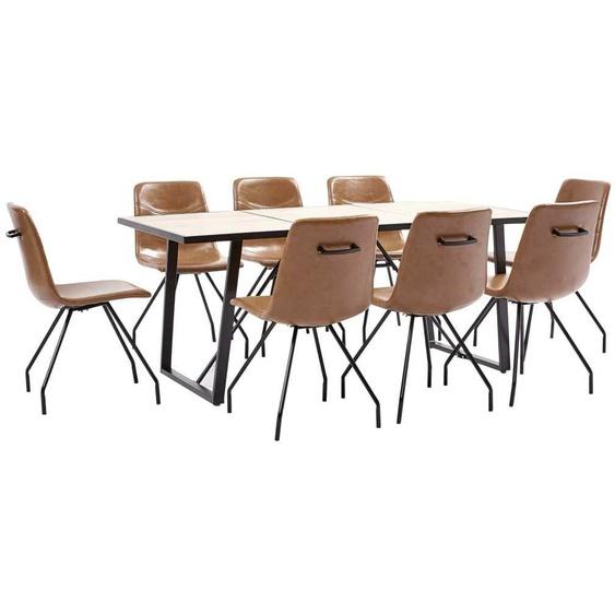 Topdeal VDTD38094_FR Ensemble de salle à manger 9 pcs Cognac Similicuir