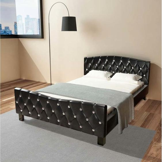 Topdeal VDLP17666_FR Lit avec matelas à mémoire de forme Noir Similicuir 140x200 cm
