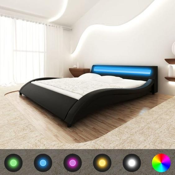 Topdeal VDLP15111_FR Lit avec matelas LED Noir Similicuir 180 x 200 cm