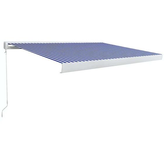 Topdeal VDTD39641_FR Store à cassette manuel 450x300 cm Bleu et blanc