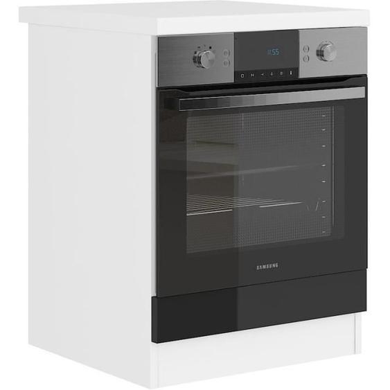 ULTRA Meuble four avec plan de travail L 60 cm - Noir brillant et décor stratifié blanc