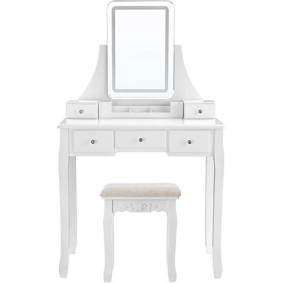 VASAGLE Coiffeuse avec miroir avec LED 3 couleurs, Table de maquillage, avec 5 tiroirs et 1 organisateur de rangement amovible, pieds en bois massif, avec tabouret, Blanc par SONGMICS RDT25WL
