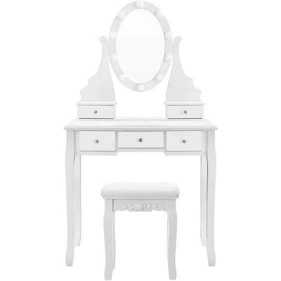 Songmics - VASAGLE Coiffeuse avec miroir et ampoules, Table de maquillage, avec 5 tiroirs, Rangement cosmétique, pieds en bois massif, avec tabouret, Blanc par RDT09WL