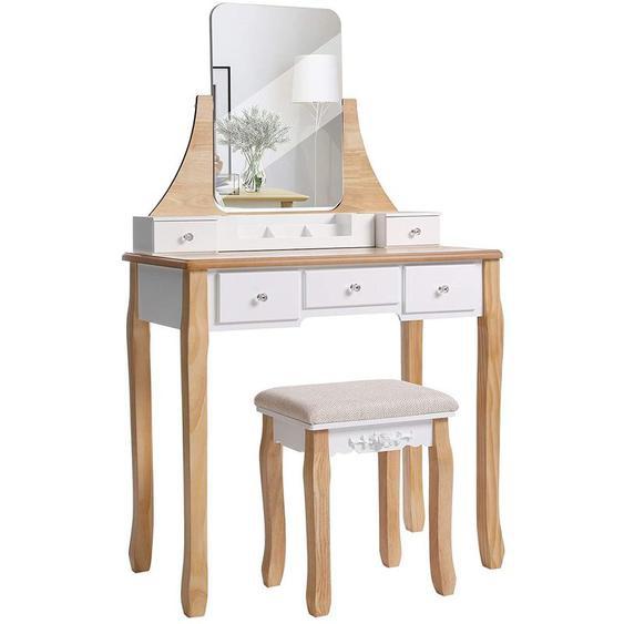 Songmics - VASAGLE Coiffeuse Moderne, Table de Maquillage, avec Tabouret, Miroir Pivotant 360°, 5 Tiroirs, Organisateurs de Maquillage Amovible, pour Chambre, Blanc et Couleur Boisée par RDT25K