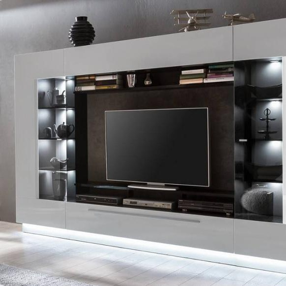Vente-unique Mur TV BLAKE avec rangements - LEDs - MDF laqué blanc