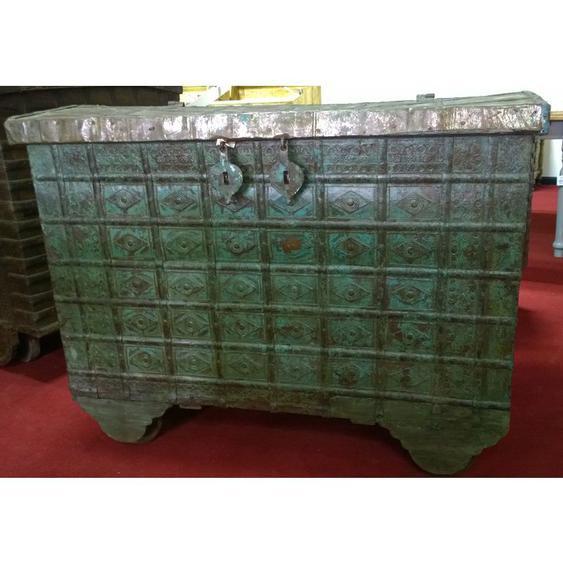 Vieux coffre en bois et fer aux dimensions L115 xPR63xH87 cm - BISCOTTINI
