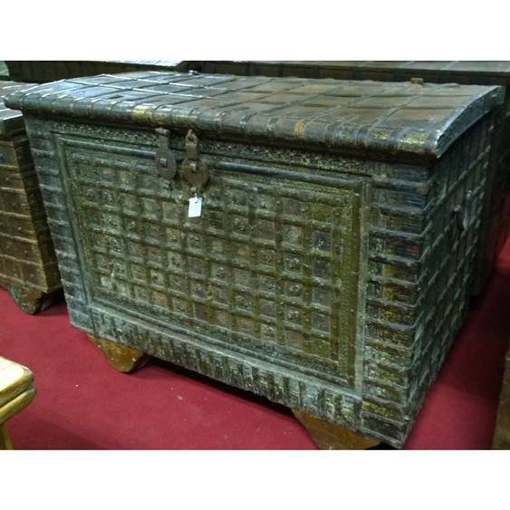 Biscottini - Vieux coffre en bois et fer aux dimensions L116 xPR73xH87 cm