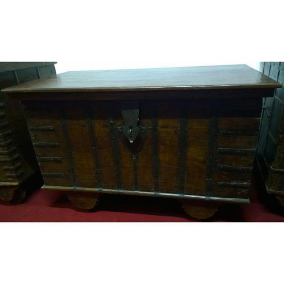 Vieux coffre en bois et fer aux dimensions L116xPR63xH71 cm - BISCOTTINI