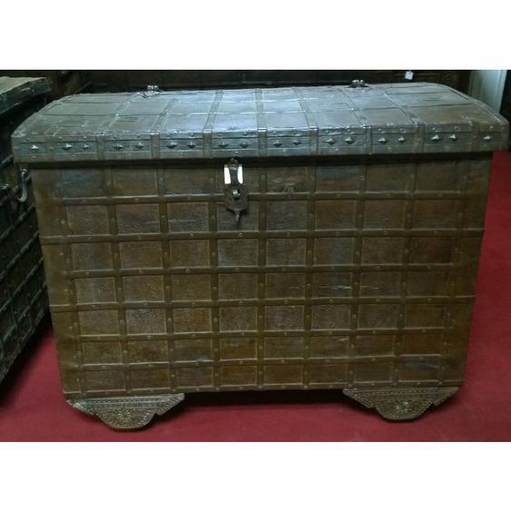 Biscottini - Vieux coffre en bois et fer aux dimensions L124 xPR77 Xh100 cm