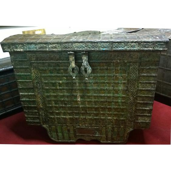 Biscottini - Vieux coffre en bois et fer aux dimensions L126xPR65 xH106 cm